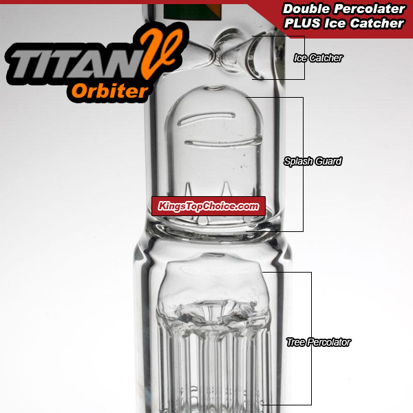 Features ice catcher, splash guard, and 2 percolators for a smoother smoke!