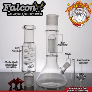 Features coil and tree percolator, diffused downstem, bowl, and assembly clips.